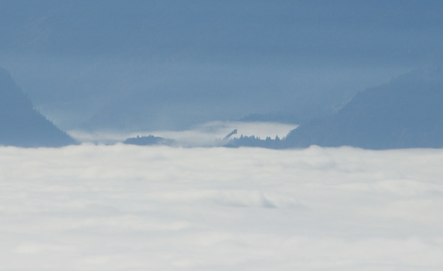 Ski flying hill in clouds